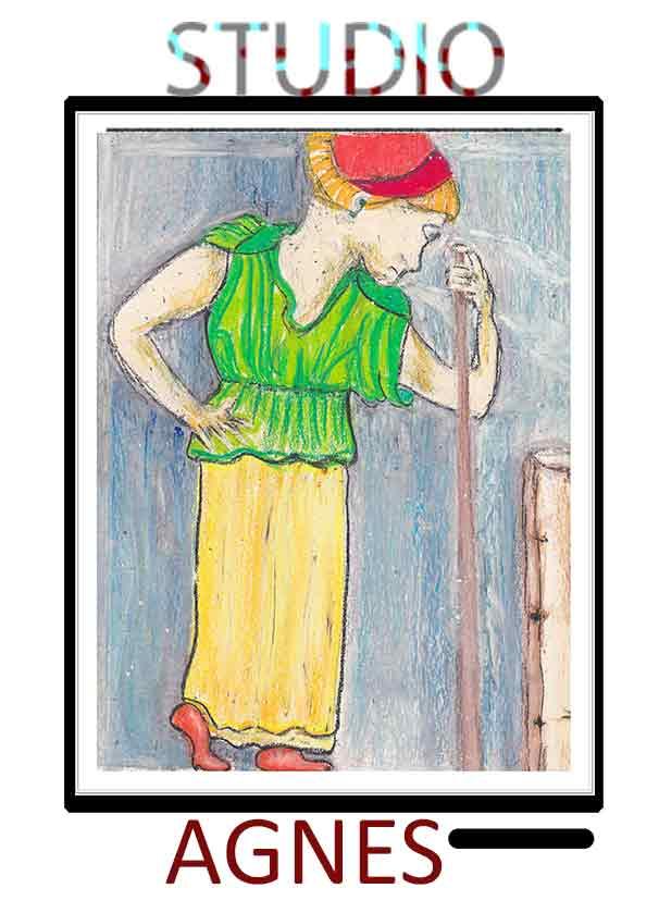Oil pastel femal portrait