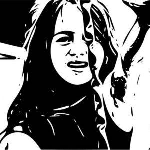 Black white image girl imploring
